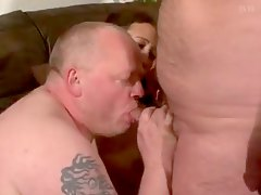 threesome cumshot, 3some, mature, chubby