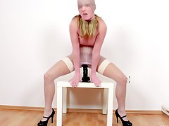 kinky european, riding, masturbating, nylon, high-heels, tits, cum-covered, czech, boobs, pantyhose, blonde, panties, slut, solo, dildo, milf, long-hair, black, fetish, big-tits